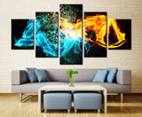 Fire Water Interaction Color painting - 5 piece Canvas
