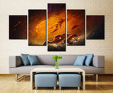 5 Piece Moon Soil Canvas For Home & Office Decor