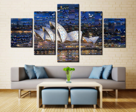Sydney Opera House Painting - 5 piece Canvas