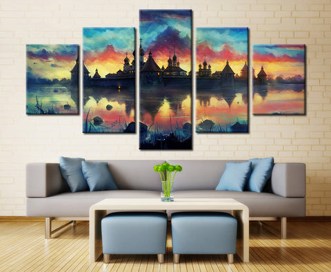 Monastery & Sky Painting - 5 piece Canvas