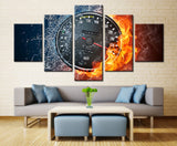Fire and speedometer - 5 piece Canvas