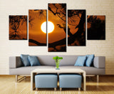 Natural Tree and Sun - 5 piece Canvas