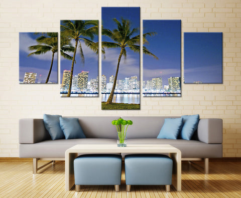 Natural sky Tree and Town - 5 piece Canvas