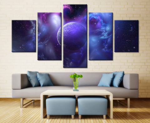 Space planets  - 5 piece Canvas