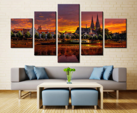 Natural River - 5 piece Canvas