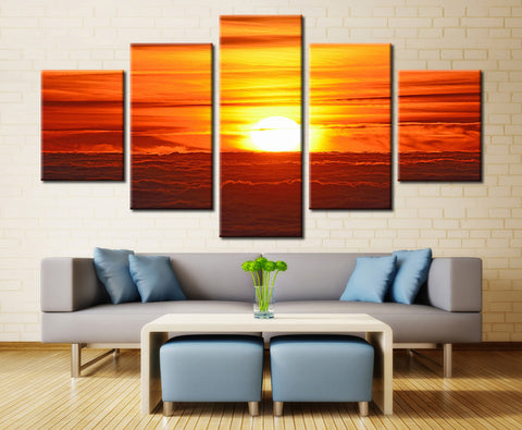 Sunset Over the Sea - 5 piece Canvas
