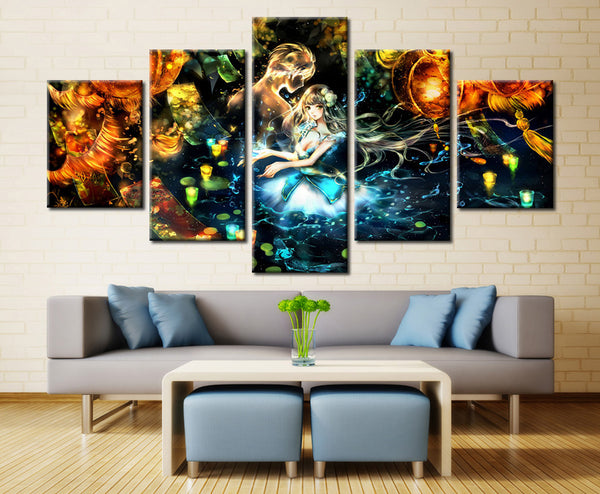 Colorful Girl & Her Dream Boy Painting - 5 piece Canvas