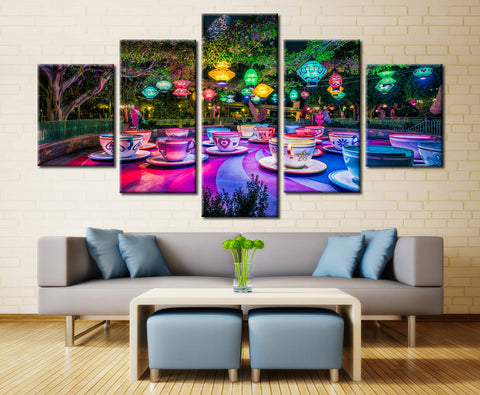Colorful Cups - 5 piece Canvas