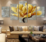 5 pcs yellow flowers design canvas Artwork - 5 pieces Canvas yellow flower on the wall art for office and home decor - EpicKanvas