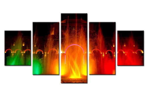 5 Piece Colored Fountain Canvas For Home & Office Decor