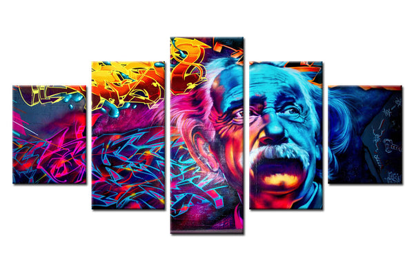5Pcs Colored Albert Einstein Canvas For Home & Office Wall Decor - EpicKanvas