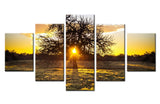 Sunrise Behind Tree - 5 piece Canvas - EpicKanvas