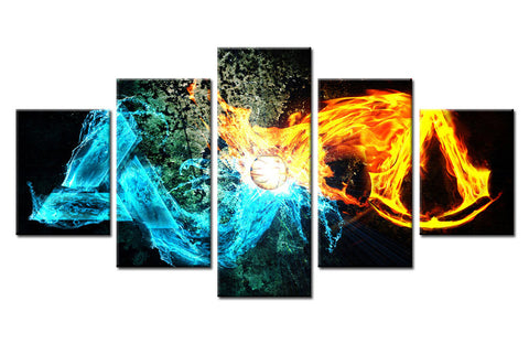 5 piece Fire & Water Spark Color Canvas For Home & Office Decor
