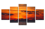 Evening sea and sky - 5 piece Canvas