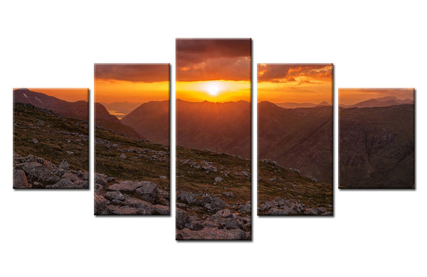 Natural mountain and sun - 5 piece Canvas