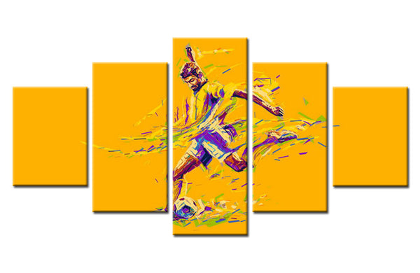 5 piece Soccer Player Abstract Canvas Art For Home & Office Wall Decor - EpicKanvas