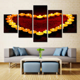 Candles in Heart Shape - 5 piece Canvas