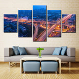 View Over Bridge (Night View) - 5 piece Canvas