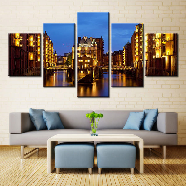 Overpass River & Residences  - 5 piece Canvas