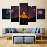 Fireworks At Temple  - 5 piece Canvas - EpicKanvas
