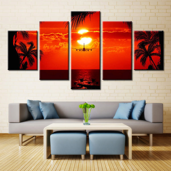 Airplane on a Sunset - 5 piece Canvas - EpicKanvas