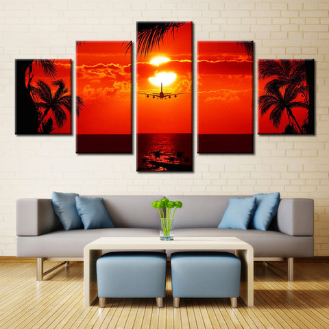 Airplane on a Sunset - 5 piece Canvas