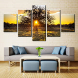 Sunrise Behind Tree - 5 piece Canvas