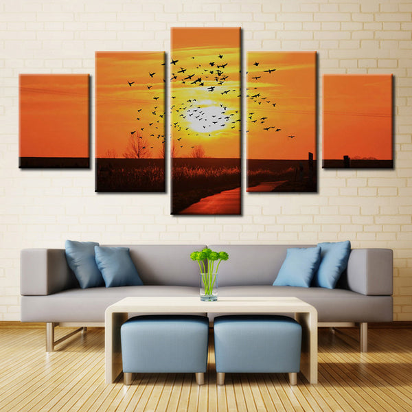 Many birds and sun - 5 piece Canvas
