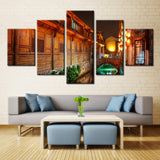 River b/w Residential Building - 5 piece Canvas