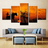Sunset and running horse - 5 piece Canvas