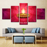 Diwali: Lighted Candle - 5 piece Canvas