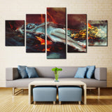 Fire Mountain and Girl  - 5 piece Canvas
