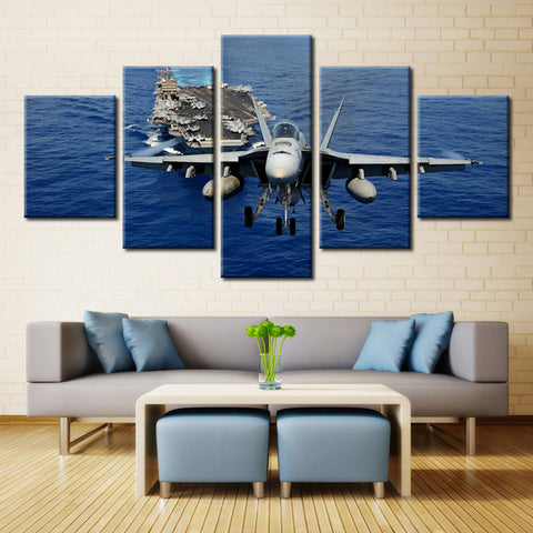 Airplane and Ships  - 5 piece Canvas