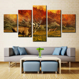 Howling Deer in Forest - 5 piece Canvas