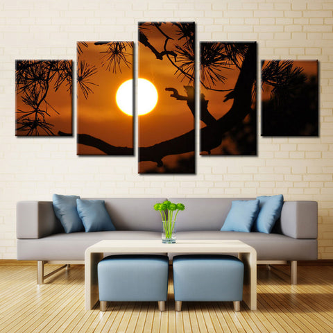 Natural Tree and Sun - 5 piece Canvas - EpicKanvas