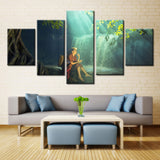 Woman Relaxing at Waterfall - 5 piece Canvas