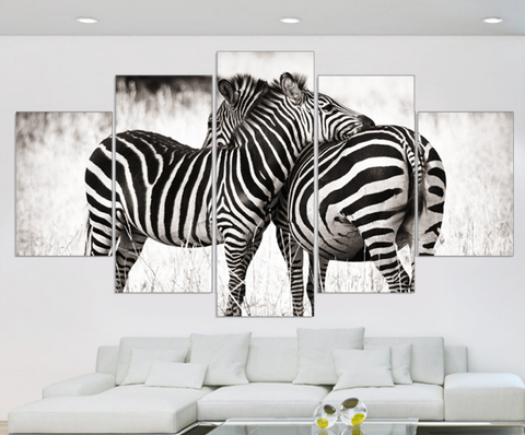 5pcs Zebra Canvas Art for Your Office and Home