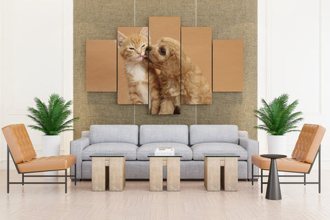 Kitten & Puppy Love - 5 piece Canvas