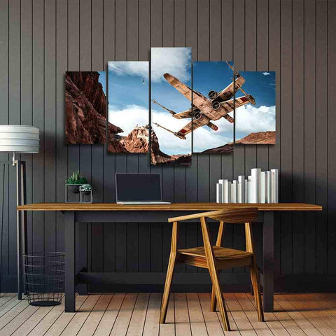 5 Piece Starwars X-Wing Taking Off Canvas Artwork For Home & Office Wall Decor - EpicKanvas