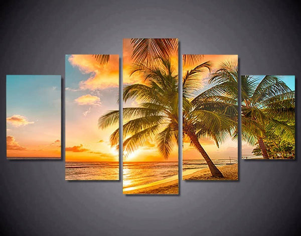 5PCS Framed Golden Beach Canvas Art - 5 Piece Canvas Nature Beach Artwork on Wall Art for Office and Home Wall Decor - EpicKanvas