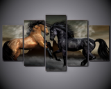 5PCS Framed Black Brown Horse Canvas Prints Wall Art for Office and Home Wall Decor