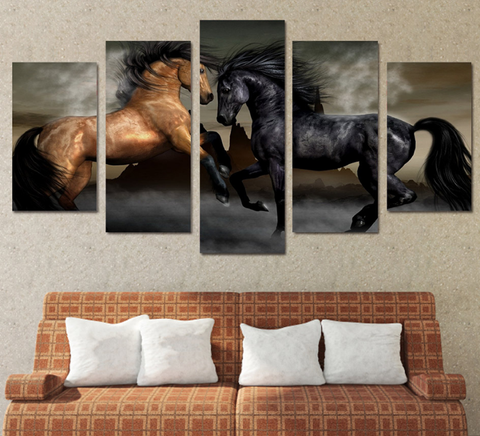 5PCS Framed Black Brown Horse Canvas Prints - 5 Piece Canvas Horse Artwork Canvas Run/Jump Hard Horse Paintings on Canvas Wall Art for Office and Home Wall Decor