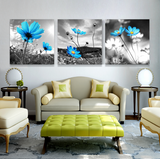 3 Pcs Framed Blue Flower Nature Canvas for your Home/Office Space