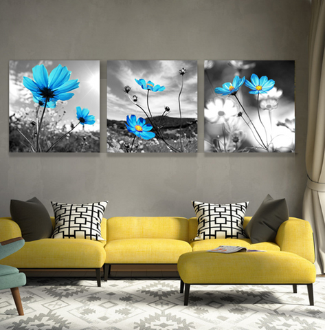 3 Pcs Framed Blue Flower Nature Canvas for your Home/Office Space - EpicKanvas