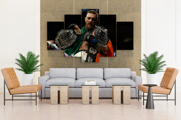 Conor Mcgregor1 w/ his Winning Belt - 5 piece Canvas