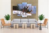 5 piece Canvas Art Of Deer Walking on Snow