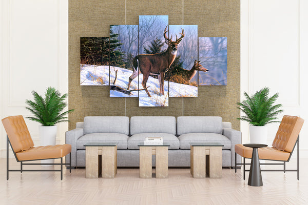 Deer Walking on Snow Painting - 5 piece Canvas