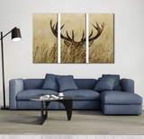 3 Pieces Framed Deer Stag With Long Antler In The Bushes Canvas-Animal Artwork For Home Decor