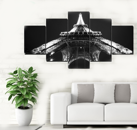 5PCS Framed Entire Black & White Bottom View Of Eiffel Tower Canvas Wall Art for Office and Home Wall Decor