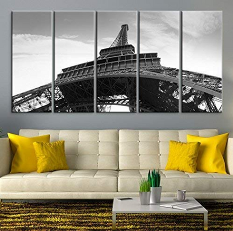 Full 5PCS Framed Eiffel Tower White/Black Bottom View Wall Art for Office and Home Wall Decor